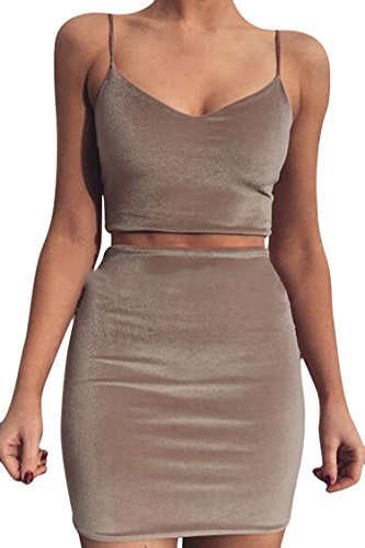 PinkWind Ladies Summer Spaghetti Straps Crop Top Mini Skirt Clubwear Sets Suits