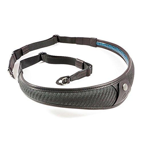 4V Design ALA TOP Handmade Leather Camera Strap w/Metal Ring Fit, Carbon/Black (2ATLRKV0909)