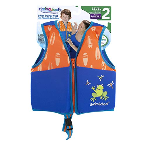 SwimSchool New & Improved Swim Trainer Vest, Flex-Form, Adjustable Safety Strap, Easy on and Off, Small/Medium, Up to 33 lbs., Blue/Orange by SwimSchool (Image #3)