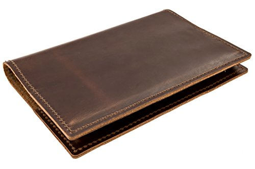 Thick Top Grain American Cowhide Leather Cover by DIY Indispensables for Included US Military Log Record Book 5-1/4 x 8 Inch NSN 7530-00-222-3521 Refillable Made in USA (Dark Brown Rustic) - Hardback Cover Case