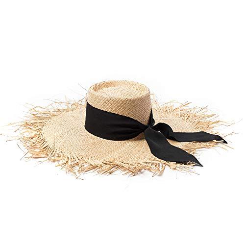 Sun Hat Frayed Brim Uv Protect Raffia Straw For Beach