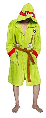 Ninja Turtles Men's TMNT Raphael Adult Costume Robe, Green/Red, One Size -