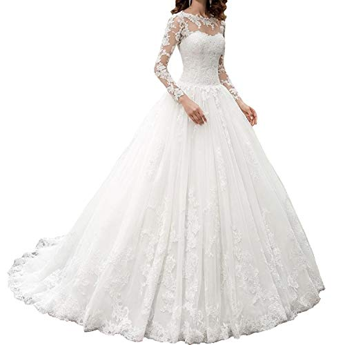 OWMAN New Women's Long Sleeves Scoop Lace Ball Gown Wedding Dress Bridal Gowns(White,14)