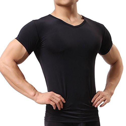 Men's Sexy Underwear T-shirt Short Sleeve Mesh Sheer Top Undershirt Sleepwear(Black M)