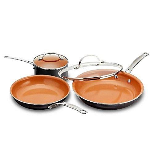 GOTHAM STEEL 5 Piece Kitchen Essentials Cookware Set with Ultra Nonstick Copper Surface Dishwasher Safe, Cool Touch…