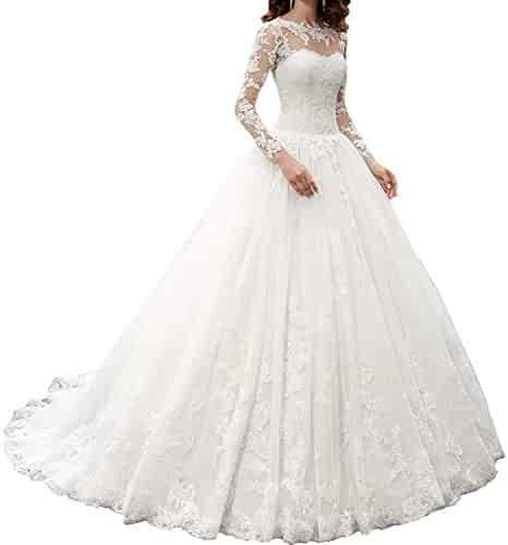 b14f0ae295d OWMAN New Women s Long Sleeves Scoop Lace Ball Gown Wedding Dress Bridal  Gowns