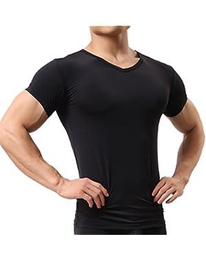 Men's Sexy Underwear Shirts Short Sleeve T-shirt Mesh Sheer Top Undershirt Sleepwear