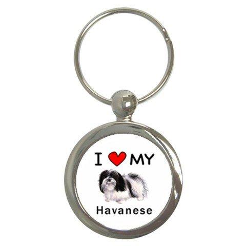 I Love My Havanese Round Key Chain (I Love My Dog Keychain)
