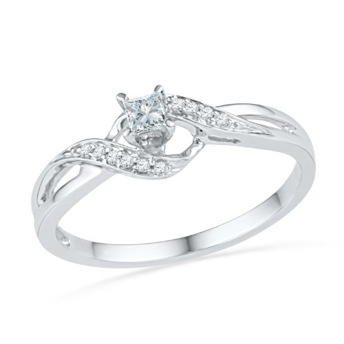 (10KT White Gold Princess and Round Diamond Promise Ring (0.13 CTTW))