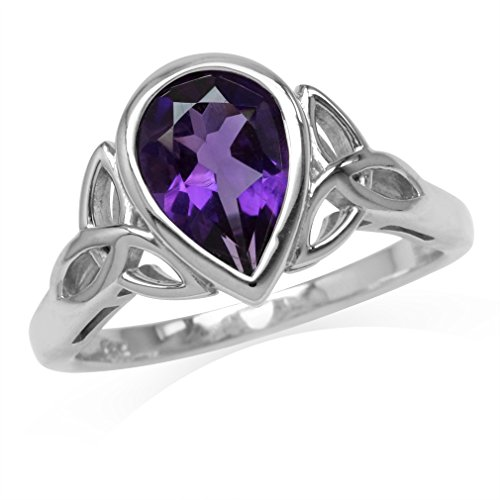 1.72ct. 10x7MM Natural Pear Shape African Amethyst 925 Sterling Silver Triquetra Celtic Knot Ring Size 6 ()