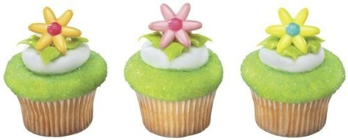 24 ct - Spring Flower Daisy Cupcake Rings