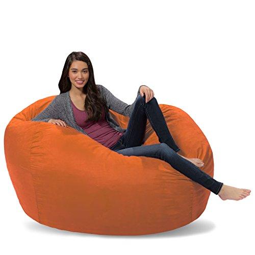 Comfy Sacks 5 ft Lounger Memory Foam Bean Bag Chair, Tangerine Micro Suede