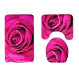 Canyixiu Rose Print Non Slip 3 Piece Bathroom Mat Sets, Bath Mat + Pedestal Mat + Toilet Seat Cover Mat (Color : Rose Red)
