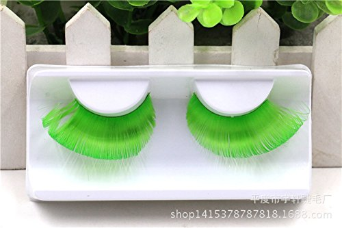 AnHua® New Sexy Fun Ladies Styles Handmade Reusable Long Thick Fancy Party Feather False Eyelashes Makeup Eye Lashes (Green Eyelashes)