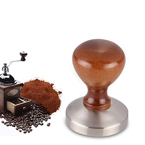 DHmart 58mm Coffee Tamper Chacate Preto Wooden Tamper Coffee Powder Hammer with 304 Stainless Steel Base Coffee Accessories
