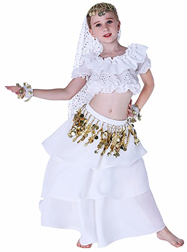 Gypsy Halloween Costume Child (Fairycece Renaissance Halloween Gypsy Jingle Costume Kids Girls 4T 6 7 8 10 12 14 16 M)