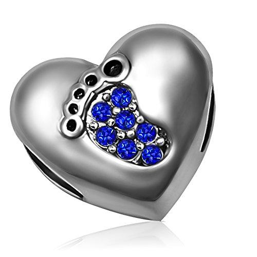 KunBead Love Baby Footprint Heart Charms Blue September Bead Bracelets Wife Sister