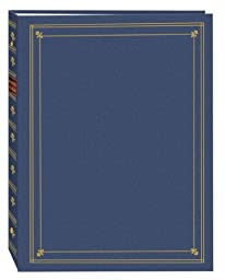 Pioneer Photo Albums 3-Ring Bound Bay Blue Leatherette Cover with Gold Accents Photo Album for 4 by 7-Inch, 5 by 7-Inch and 8 by 10-Inch Prints