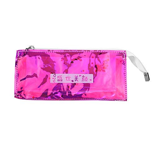 Saver Shelves Space Reflections - Sikye Sequin Reflection Transparent Pencil Pen Case Stationery Bag Zipper Pouch Pencil Holder Cosmetic Bag (B)