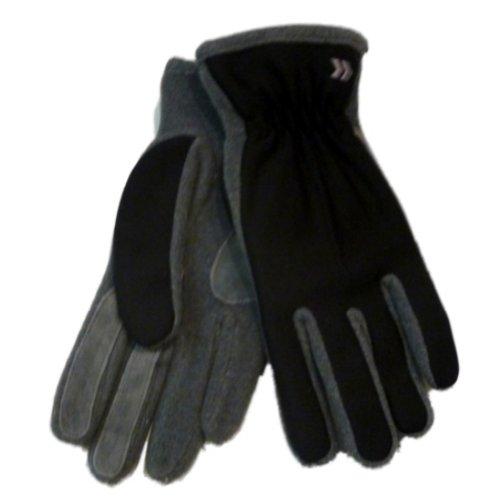 Isotonerレディースブラック&グレーライクラストレッチ手袋withフリース&スエードアクセント