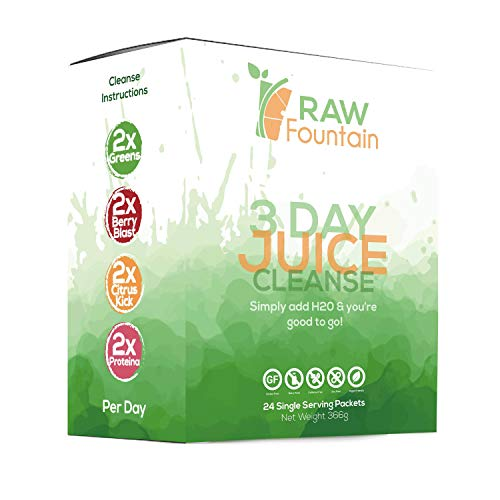 3 Day Juice Cleanse Detox | 24 Single Serving Powder Packets | Portable Travel & Vegan Friendly | Weight Loss Program | All Natural Green Supplement (3 Day) (Best 3 Day Pack)