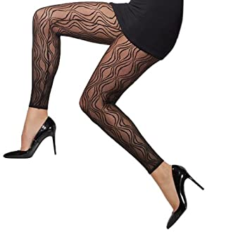 e47b4c97b Smiffy s Sheer Footless Tights Lace Pattern - Black  Amazon.co.uk  Toys    Games