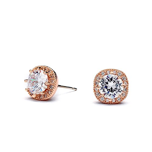 Mariell 14K Rose Gold Cubic Zirconia Cushion Shape 10mm Halo Stud Earrings with Round-Cut Solitaire (Gold Embossed 14k Ring)