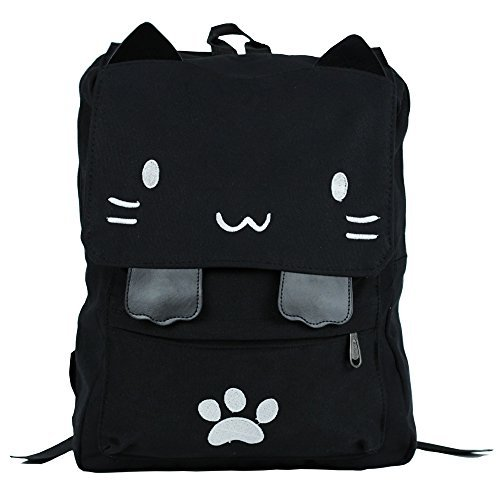 Kitty Own (Black College Cute Cat Embroidery Canvas School Laptop Backpack Bags For Women Kids Plus Size Japanese Cartoon Kitty Paw Schoolbag Ruchsack Girls Boys Outdoor Accessories Daypack Bookbag (01White))