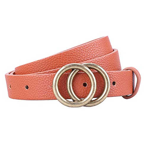 Earnda Women's Skinny Belt Fashion Round Buckle Leather Belts for Women Pants Dress 5/6