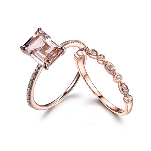 Diamond Antique Engagement Ring Setting (Emerald Cut Morganite Wedding Ring Set,Diamond Engagement Ring,14k Rose gold Art Deco Matching Band)