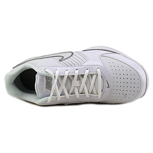 Nike Air Baseline Basso Uomo Scarpe Da Basket In Pelle Punta Tonda Bianco / Argento Metallizzato Bianco