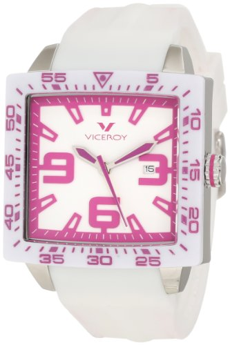 Viceroy Women's 432099-95 Pink White Square Rubber Date Watch