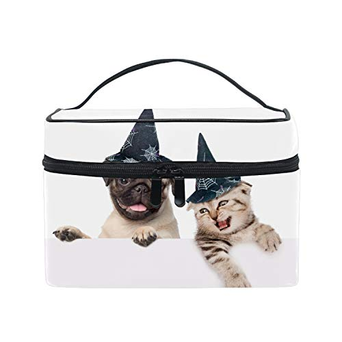 Portable Makeup Bag Cosmetic Case Travel Organizer Halloween Pug And Cat Makeup Train Case -