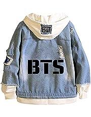 ARTWORLDNB BTS Bangtan Boys Denim Jacket Kpop Casual Mannen Vrouwen Sweatshirt met Capuchon Losse Jas van jeansjas Unisex Sweatshirt
