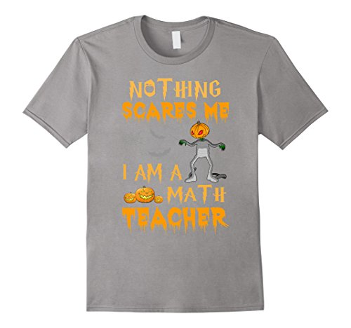 Mens Halloween Nothing Scares Me I'm A Math Teacher T-Shirt 3XL Slate (Best Halloween Costumes For College Guys)
