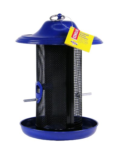 Stokes Select Cobalt Double Chamber Mesh Screen Bird Feeder with Metal Roof, Blue, 2.4 lb Seed Capacity
