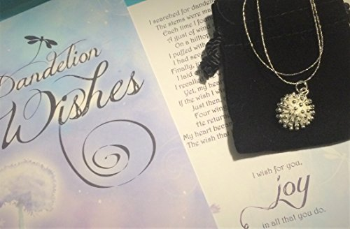 Smiling Wisdom - Dandelion Puff Wishes Story Gift Set - Silver Plated Dandelion Pappus - Pendant Necklace - Joy - Birthday, Valentines, Retirement, Graduation, Goodbye Wish For Her - Anytime Gifts