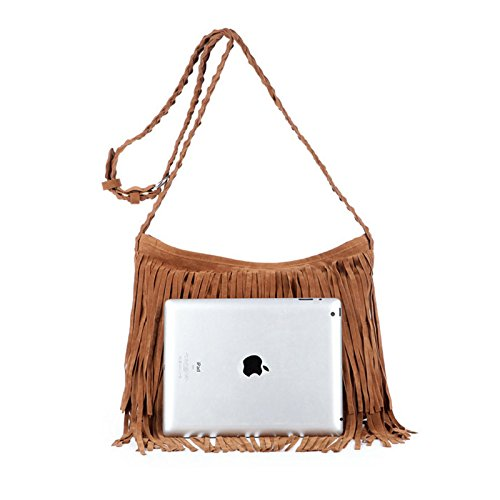 Bag Body Fringed Suede Faux Ladies Cross Tassel Black awHza