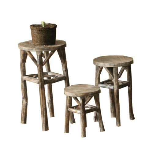 Kalalou Round Whitewashed Pedestals with Twig Legs, Set of 3, One Size, Multicolored