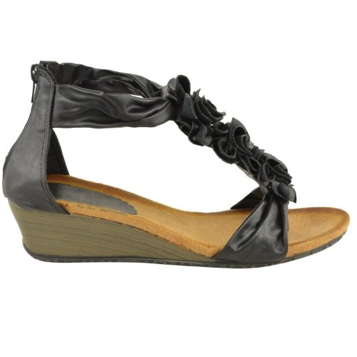 Mode Assoiffé Womens Sandales Dété Fleur Strappy Talon Plat Chaussures Plates Compensées Taille Noir Faux Cuir
