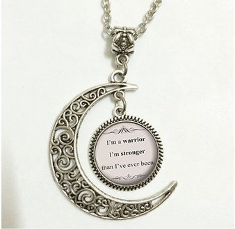 Charm Crescent Moon Song Lyric Jewelry - Demi Lovato Song Lyrics Quote Necklace - Inspirational Music Pendant - Silver Motivational Jewelry Gift for Her (Asa Music)