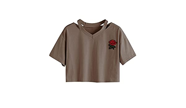 Amazon.com: Women Tank Tops ,kaifongfu Women Rose Short Sleeve Casual T Shirt V Neck Vest Tops Blouse (S, Brown): Toys & Games