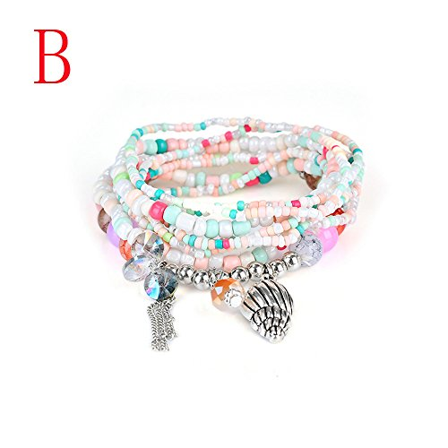 - JSPOYOU Fashion Womens Multicolor Bohemia Multilayer Bracelet Lady Bracelet Bangle (B)