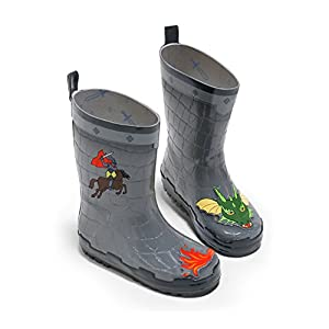 Kidorable Dragon Knight Grey Natural Rubber Rain Boots With A Pull On Heel Tab (Little Kid), 10 M US