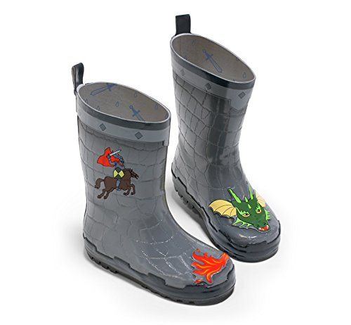 Kidorable Dragon Knight Grey Natural Rubber Rain Boots With A Pull On Heel Tab (Big Kid), 1 M US (1 Dragon)
