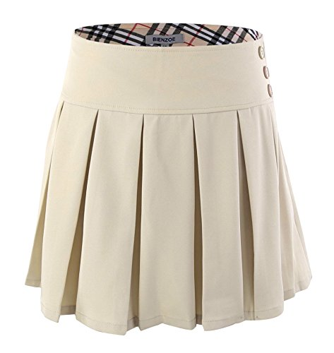 (Bienzoe Girl's Stretchy Pleated Adjustable Waist School Uniforms Skirt Khaki 12)