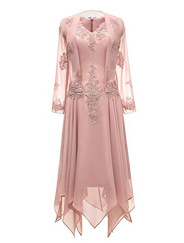 tutu.vivi V-Neck Chiffon Tea Length Mother of The Bride Dress Long Sleeves Lace Formal Evening Gowns with Jacket Blush ()