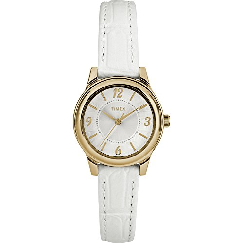 Timex Women's TW2R85900 Basics 26mm White/Gold-Tone/Silver-Tone Croco Pattern Leather Strap Watch