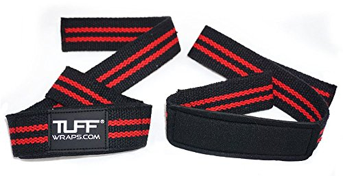 •TUFF Quality Cotton Woven Lifting Straps, Padded Medical Grade Neoprene Wrist Pad Support - Up to 19