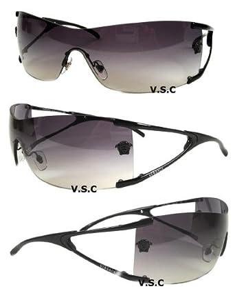 8c45a2a1cc74 Amazon.com  Versace 2052 Sunglasses Mens Sun Glasses Wrap Around Medusa  Shades Black  Clothing